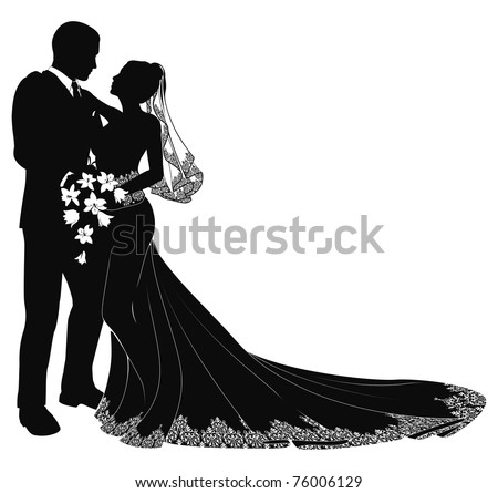 A bride and groom on their wedding day about to kiss in silhouette - stock vector