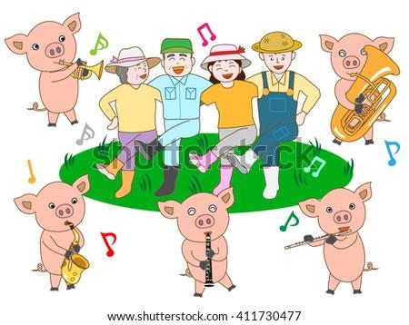A bright hog raising farmhouse. The family of the farmhouse dances by the performance of the piglet. - stock vector