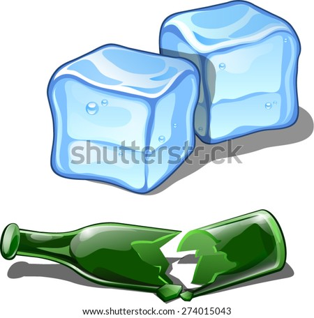 a broken bottle and ice cubes - stock vector