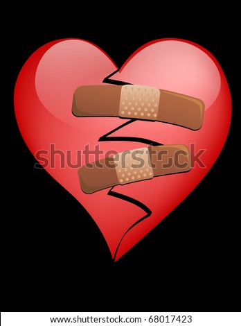 A Broken Heart with Bandages on a black background - stock vector