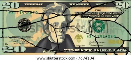 A broken twenty dollar bill - stock vector