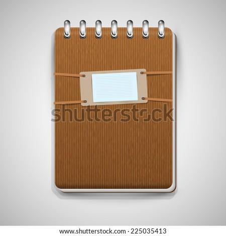 A brown notebook, vector - stock vector