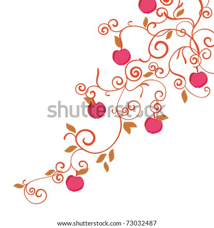 a brunch of apple tree - stock vector