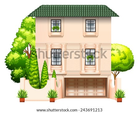 A building with trees on a white background - stock vector