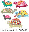 A bunch of adorable turtles with colorful decorations. - stock vector