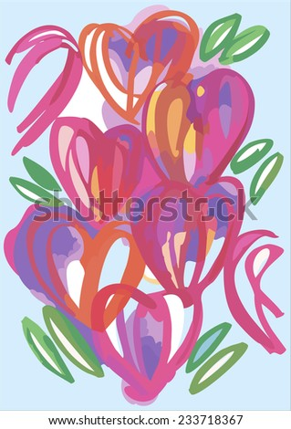 A bunch of hearts Valentine's Day card. Funny hearts banner. Hand-drawn Valentine's illustration - stock vector