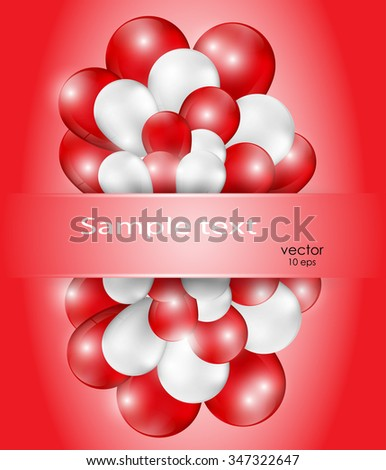 A bunch of red and white balloons. A place for inscriptions. Postcards birthday girl. Happy Valentine's day - stock vector