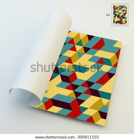 A4 Business Blank. 3d Blocks Structure Background. Vector Illustration. Can Be Used For Advertising, Marketing And Presentation. - stock vector