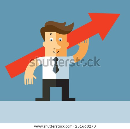 A business man holding a red arrow up indicating successful business development. Flat vector illustration - stock vector