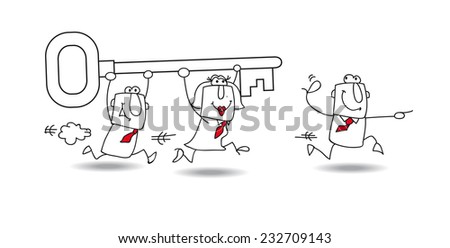 A business team carries a key. it is a metaphor : they have find the solution for their problem - stock vector