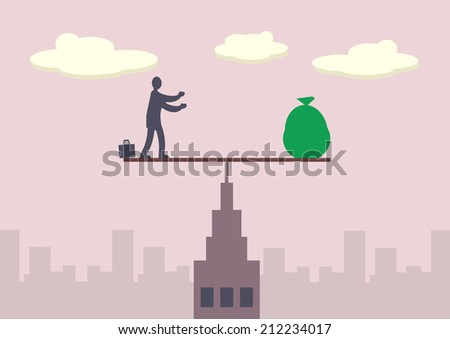 A businessman and sack of money balancing on a fulcrum, which is on top of a tall building. A metaphor on financial balance. - stock vector