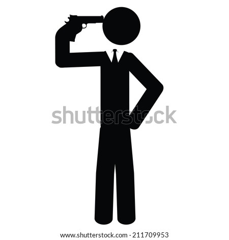 A businessman commits suicide. It is a stick figure vector. EPS10  - stock vector