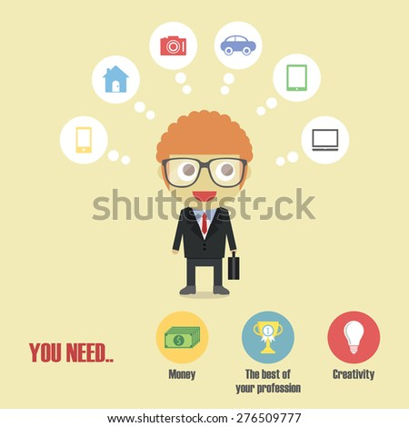 a businessman dreaming to future - stock vector