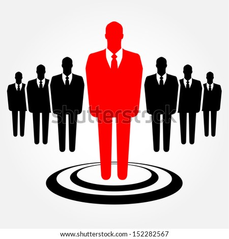 A businessman standing out from the crowd - leadership, recruitment and HR concept - stock vector