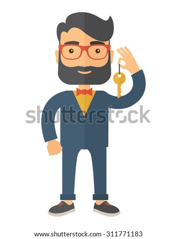 A Businessman standing while holding a Golden key. A Contemporary style. Vector flat design illustration isolated white background. Vertical layout - stock vector