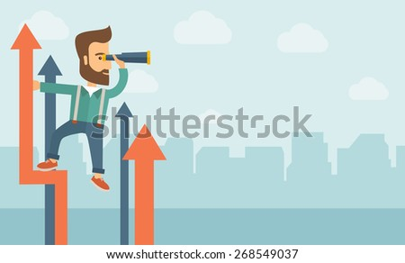 A businessman with beard stand on top of graph arrow using his telescope looking how high he is. Business success, self development concept. A Contemporary style with pastel palette, soft blue tinted - stock vector