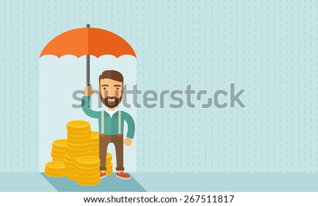 A businessman with beard standing holding umbrella protecting his money to investments, money management. Saving money for any storm problem will come. Business concept.A contemporary style with - stock vector