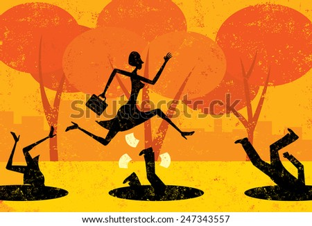A businesswoman jumping over pitfalls while others fall into them. The people and the background are on separately labeled layers. - stock vector