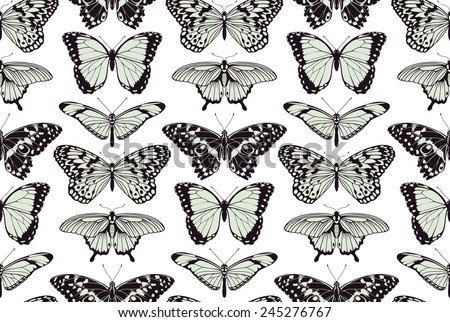 A butterfly seamless tillable vintage background pattern design illustration - stock vector