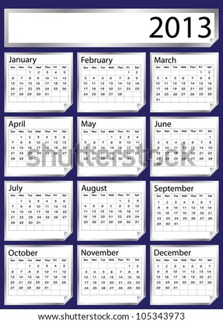 A 2013 calendar created with silver stickers. Space for text or Company name. EPS 10 vector format - stock vector