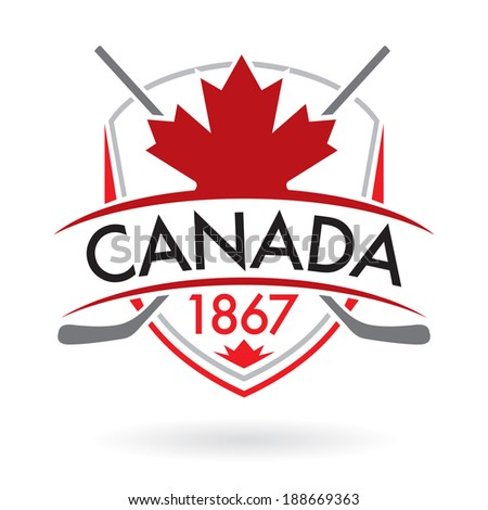 A Canadian crest with crossed hockey sticks in vector format. - stock vector