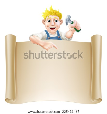 A carpenter or builder holding a claw hammer and peeking over a scroll banner and pointing - stock vector