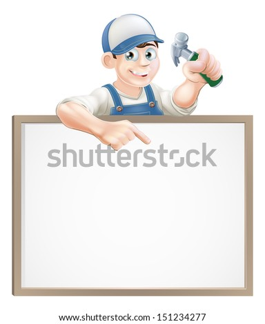 A carpenter or builder holding a claw hammer and peeking over a sign and pointing - stock vector