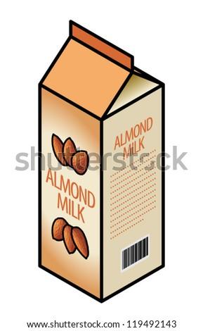 A carton of lactose-free almond milk. - stock vector