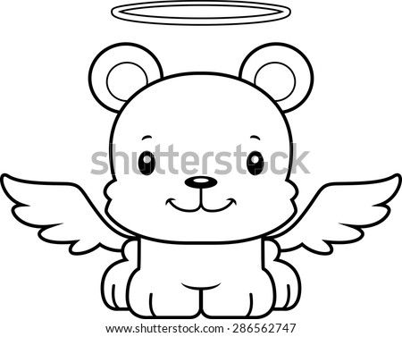 A cartoon angel bear smiling. - stock vector