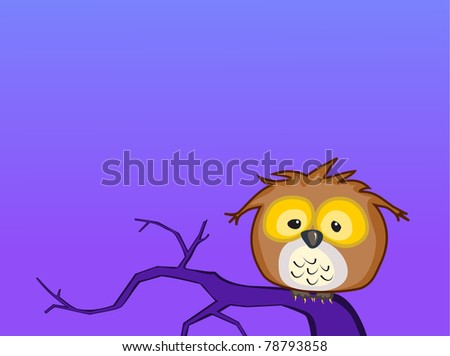 A cartoon baby Great Horned Owl sits on a lonely branch by himself during the night - vector. - stock vector