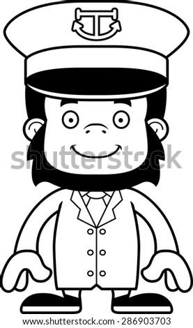 A cartoon boat captain gorilla smiling. - stock vector