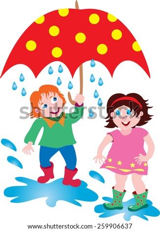 A cartoon boy and girl in the rain with a large red spotted umbrella - stock vector