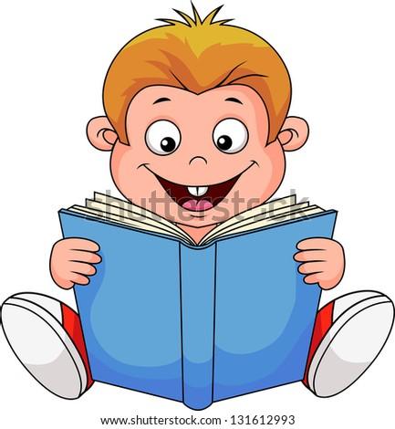 A cartoon boy reading a book - stock vector