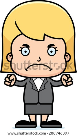 A cartoon businessperson girl looking angry. - stock vector
