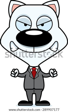 A cartoon businessperson kitten looking angry. - stock vector