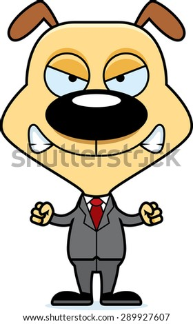 A cartoon businessperson puppy looking angry. - stock vector