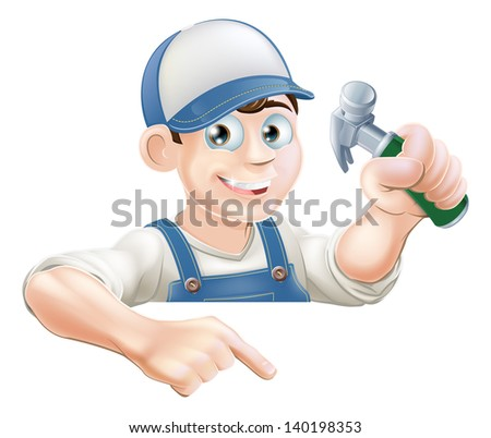 A cartoon carpenter or construction guy with a hammer peeking over a sign or banner and pointing at it - stock vector