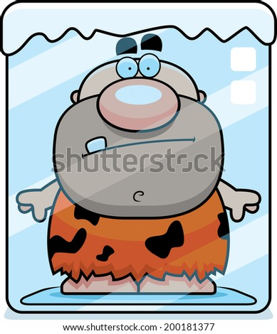 A cartoon caveman frozen in a block of ice. - stock vector