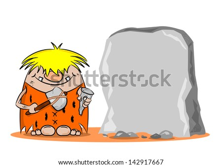 A cartoon caveman with hammer and chisel next to a blank rock - stock vector