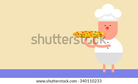 A cartoon chef character holding a delicious pizza. Well trained skilled professional cook preparing meal, gourmet, cuisine. Food delivery service. Isolated objects and elements for advertisement. - stock vector