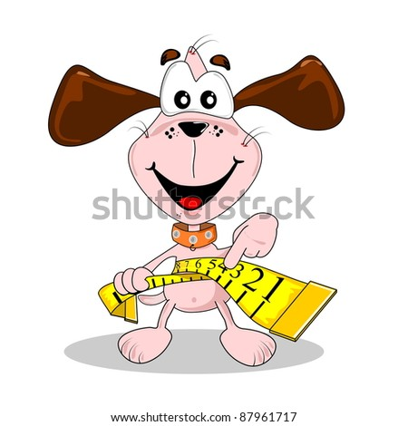 A cartoon dog and measuring tape in diet weight loss concept - stock vector
