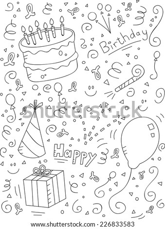 A cartoon doodle with a birthday theme. - stock vector