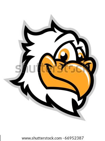 A cartoon eagle head smiling. - stock vector
