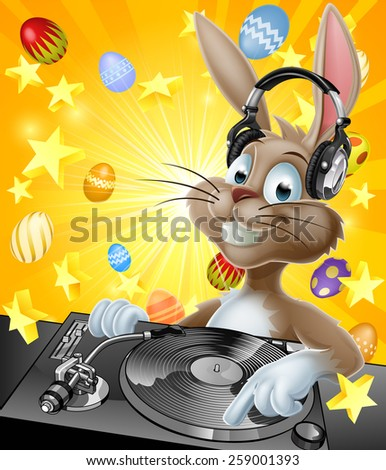 A cartoon Easter Bunny DJ with headphones on at the record decks with chocolate Easter eggs in the background - stock vector