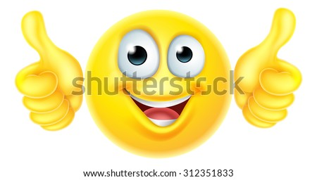 A cartoon emoji emoticon icon character looking very happy with his thumbs up, he likes it - stock vector