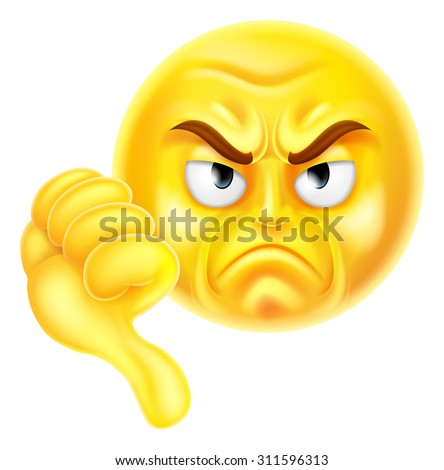 A cartoon emoji icon looking very disapproving or angry with his thumb down, he doesn't like it - stock vector
