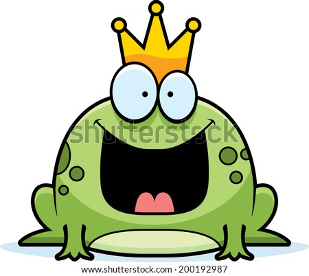 A cartoon frog prince smiling and happy. - stock vector