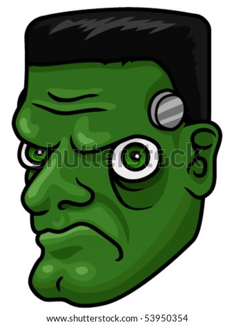 A cartoon halloween frankenstein monster head or mask. - stock vector