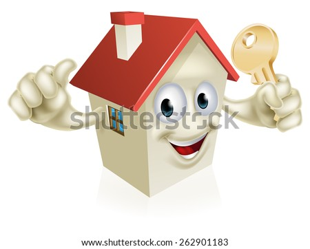 A cartoon house character mascot holding a key. Concept for buying a new home, real estate or similar  - stock vector