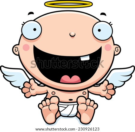 A cartoon illustration of a baby angel looking happy. - stock vector